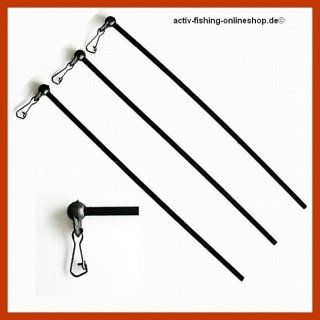 3 x schwarze gerade Anti Tangle Feeder Boom ca. 20cm