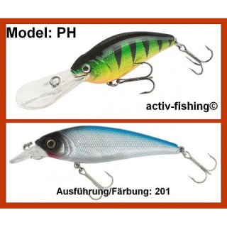 9g - 6,0cm Wobbler PERCH 201 Tauchtiefe 6m, VMC Haken