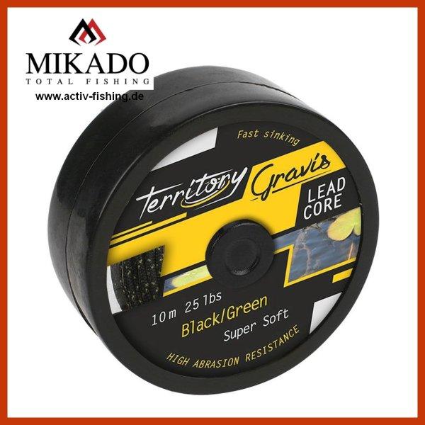 10m MIKADO GRAVIS Lead Core grünes Vorfachmaterial 25lbs