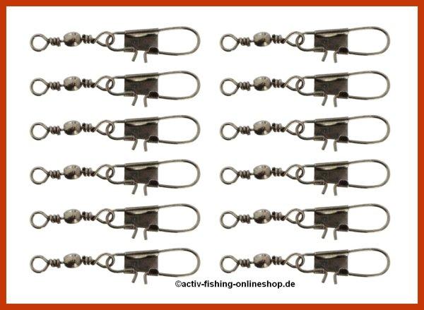 """12 """"MIKADO HX3020"""" Tönnchenwirbel mit Sicherheitskarabiner Gr.10(14kg) - 20(6kg)"""