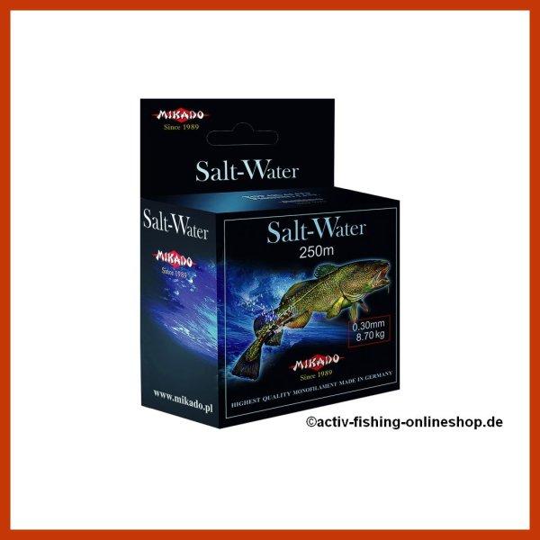 """250m """"MIKADO SALT WATER"""" mono Meeres- Angelsschnur Salzwasser Ø0,30mm - 0,60mm"""