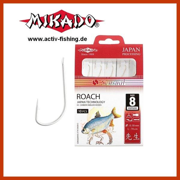 """10 x """"MIKADO"""" scharfe Rotaugenhaken Angelhaken (Silber) Gr.8 / Ø0,16mm / 70cm"""