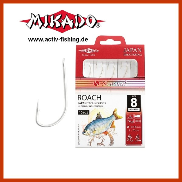 """10 x """"MIKADO"""" scharfe Rotaugenhaken Angelhaken (Silber) Gr.10 / Ø0,14mm / 70cm"""