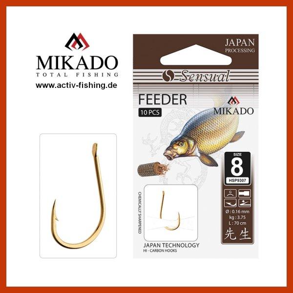 10x MIKADO SENSUAL FEEDER scharfe Feederhaken Angelhaken (gold) Gr.6 bis 10