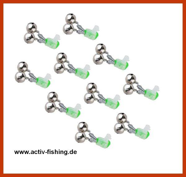 10 x Doppel Aalglöckchen mit Knicklichthalter Auswahl Größe  L