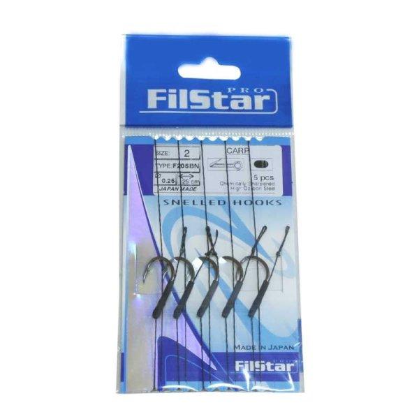 5 x Carp Rig mit Wirbel Boilievorfach Hair Rig Karpfenhaken (F205BN) 4 / Ø0,25mm / 25cm