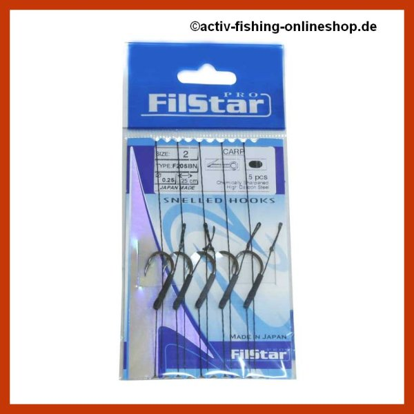 5 x Carp Rig mit Wirbel Boilievorfach Hair Rig Karpfenhaken (F205BN) 6 / Ø0,20mm / 25cm