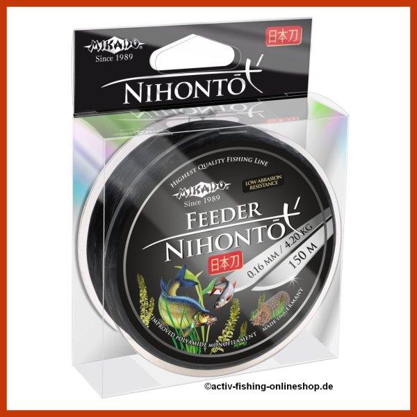 """150m """" NIHONTO FEEDER """" schwarze monofile Angelschnur Feederschnur Methodfeeder Ø 0,14mm / 3,30kg"""