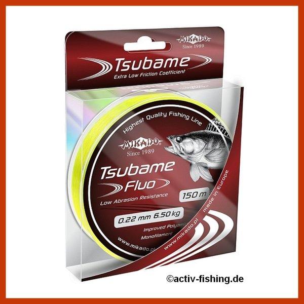 """150m """" MIKADO TSUBAME FLUO""""  fluo gelbe Angelschnur  Ø0,16mm-0,30mm"""