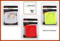 "2 Karten "" MIKADO CARP "" weiche Silikon Boiliestopper Boiliehalter Pellethalter (AMC-11501) rot"