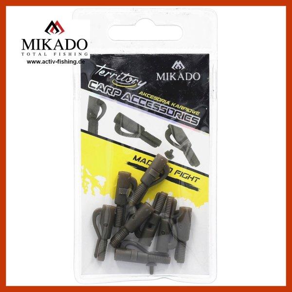 """10 x grün-graue 25mm """"MIKADO CARP"""" lead Clip Safety Clip Blei-Clips"""
