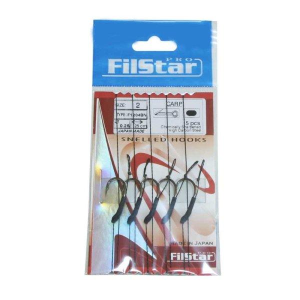 5 x Carp Rig mit Wirbel Boilievorfach Hair Rig Karpfenhaken (F1204BN) 4 / Ø0,25mm / 25cm