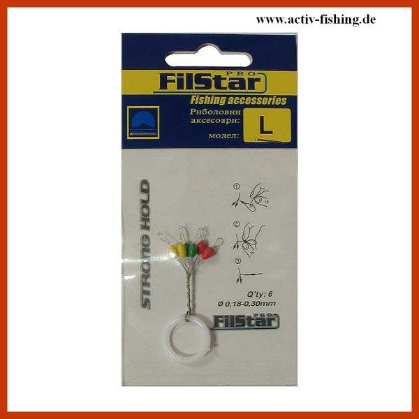 """"""" TEAM FILSTAR 023 """" präzise mehrfarbige Schnurstopper Gummistopper Posenstopper L / Ø 0,18 - 0,30mm"""