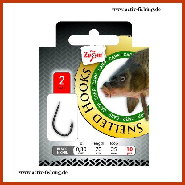 """10 x"""" CARP ZOOM """" gebundene Karpfenhaken Angelhaken Vorfach 70cm #2- #10"""