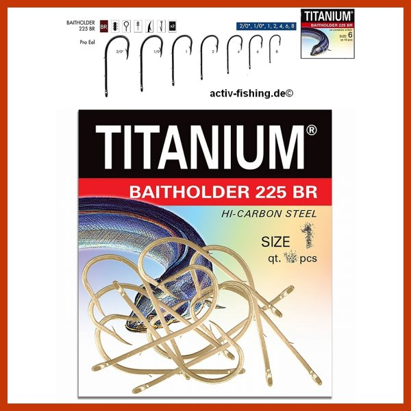 """ROBINSON TITANIUM"" starke Hi Carbon Steel Aalhaken Wurmhaken Größe 2/0 - 8 Stück"