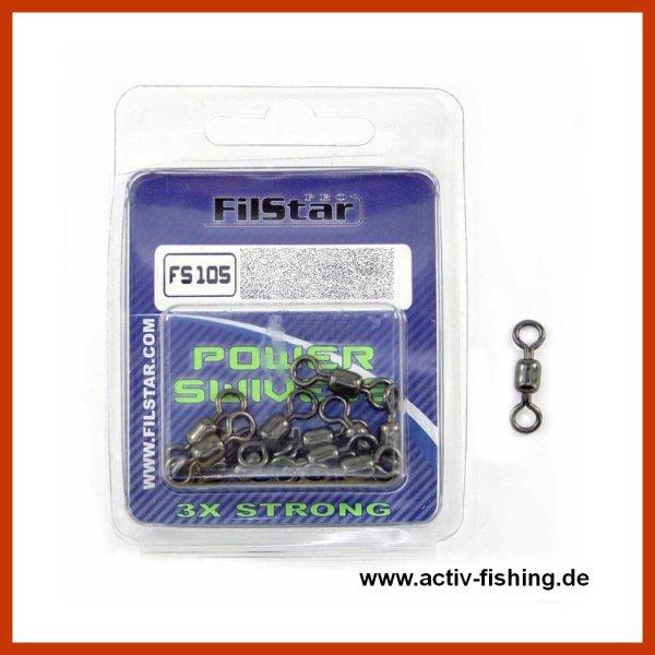 """"""" FILSTAR POWER SWIEVELS FS-105 """" rostfreie hochleistungs Wirbel Meereswirbel Größe 10 / 30kg / 65 Lbs / 10 Stück"""