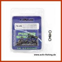 """"""" FILSTAR POWER SWIEVELS FS-105 """" rostfreie hochleistungs Wirbel Meereswirbel Größe 2/0 / 300kg / 660 Lbs / 7 Stück"""