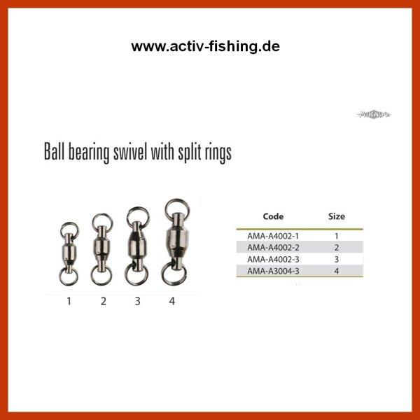 """5 """"MIKADO"""" Kugellagerwirbel mit Splitring Raubfischwirbel Gr. 1 (10kg) - 4(16kg)"""