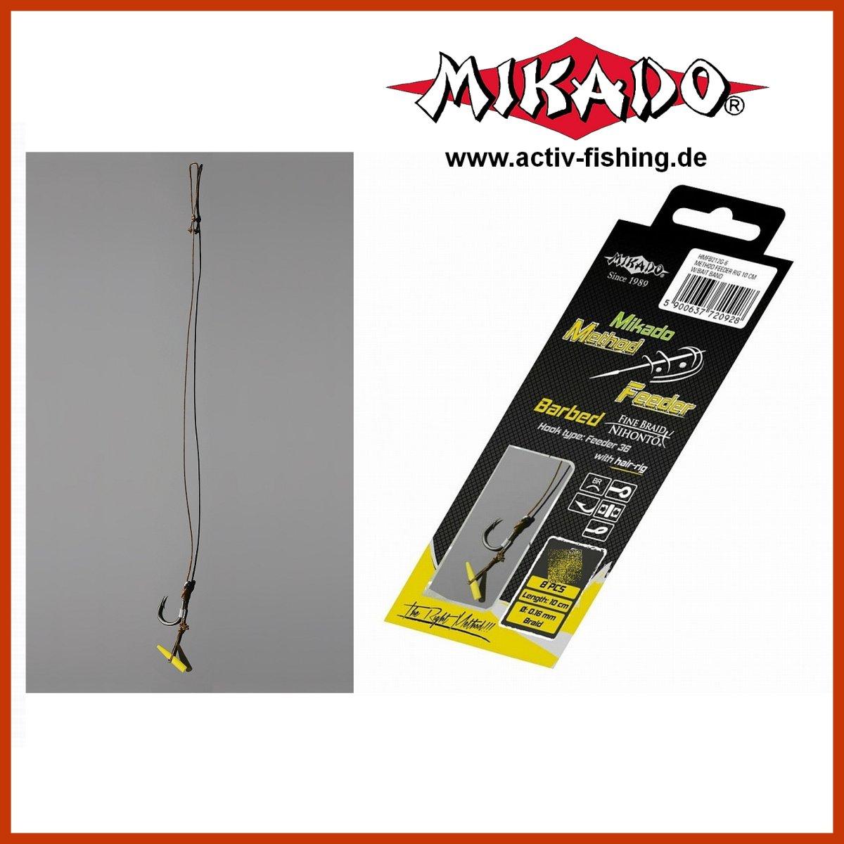 Mikado 8 x METHOD FEEDER 702 Haken Rig `s mit Pellet-//Bait Band und geflochtener Schnur in den Gr/ö/ßen 4 bis 16 erh/ältlich