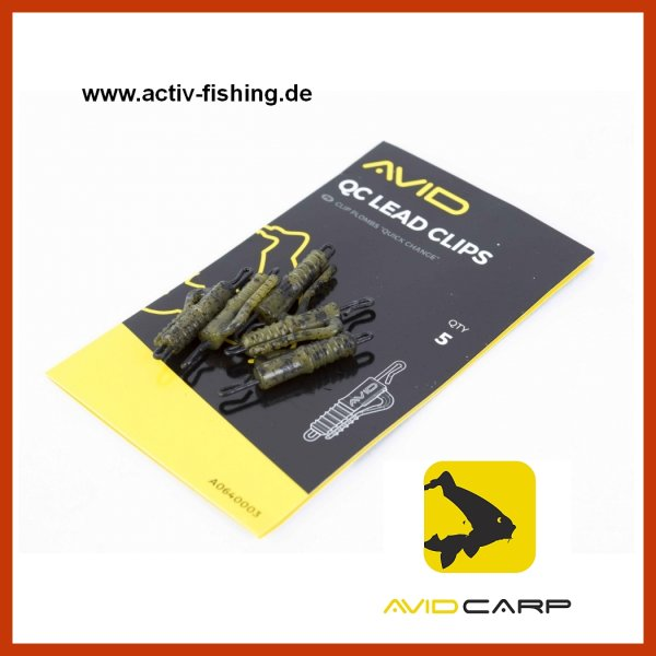 5 x AVID CARP QC Lead Clips End Tackle Camou Tarn Farbe