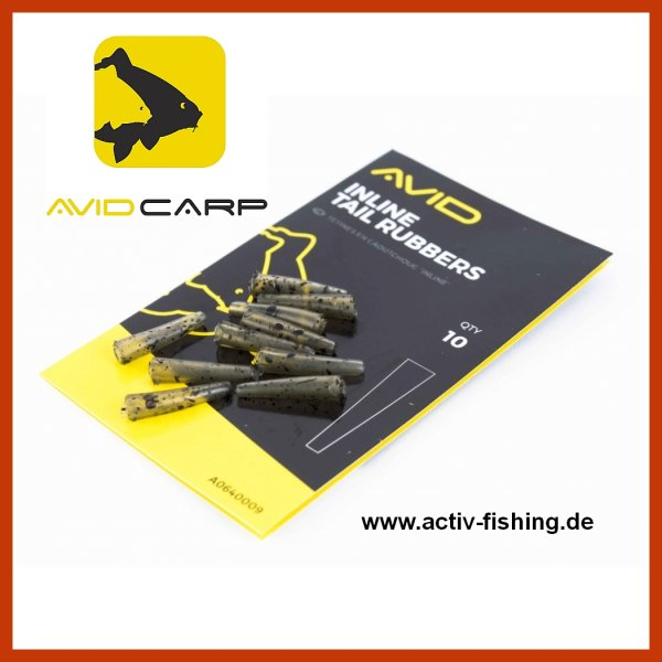10 x AVID CARP INLINE TAIL RUBBERS 1,8cm End Tackle Camou Tarn Farbe