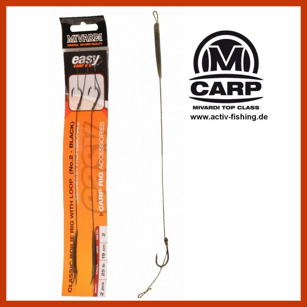2 x MIVARDI BOILIE RIG EASY WITH LOOP 19cm 25lb mit Teflon Haken Karpfenhaken #2 / Camo