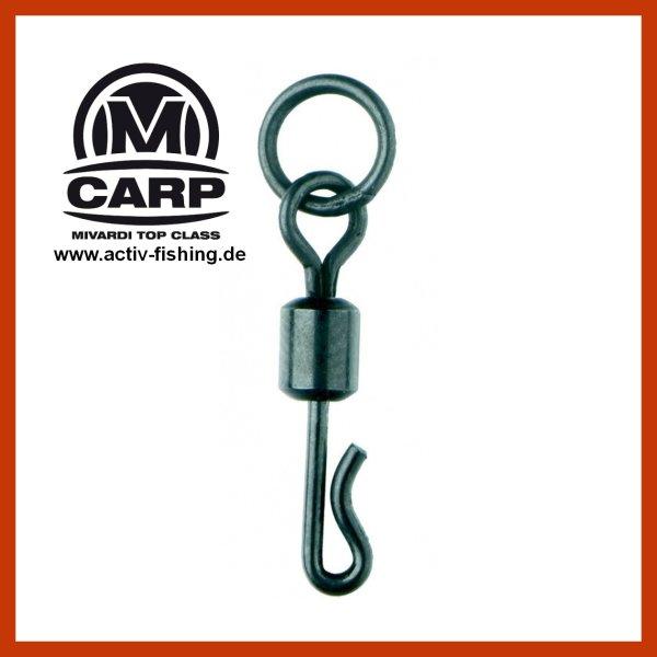 10 x MIVARDI QUICK CHANGE SWIVEL WITH RING  schwarz matte Karpfenwirbel #8